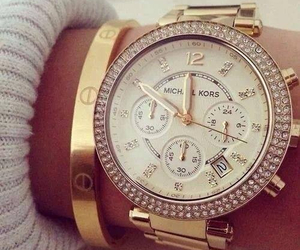 bracelet, gold, and watch image