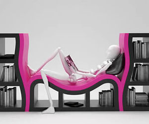 black, bookshelf, and pink image