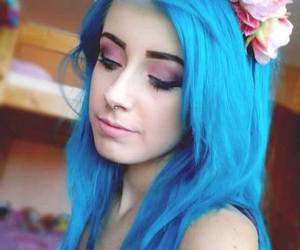 blue hair, blue, and scene image