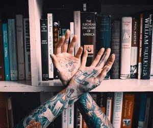 book, tattoo, and hands image