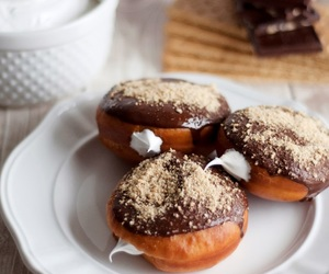 breakfast, chocolate, and doughnuts image