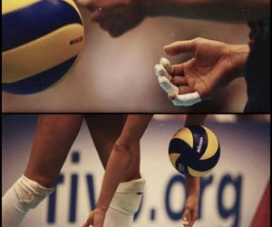 never give up and volleyball image