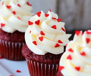 cupcake, dessert, and red image