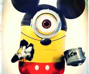 minions, mickey, and black image