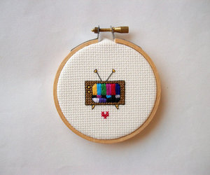 cross stitch and tv image