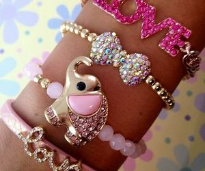 bracelet, pink, and love image