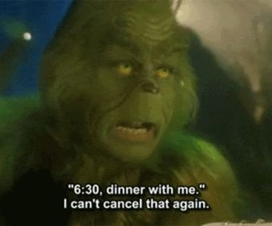grinch, funny, and dinner image