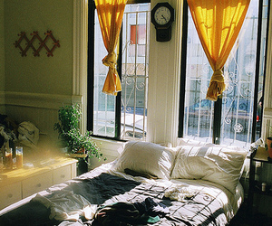 bed, room, and yellow image