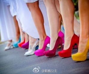 rainbow, high heel shoes, and bridesmaid shoes image
