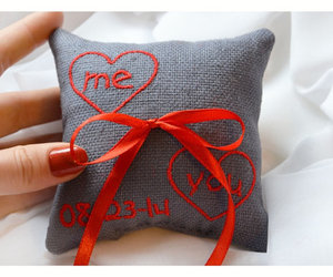 ring bearer pillow, personalized ring pillow, and heart wedding pillow image