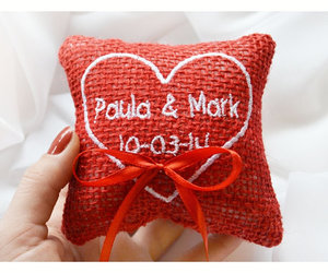 ring bearer pillow, wedding ring pillow, and personalized ring pillow image