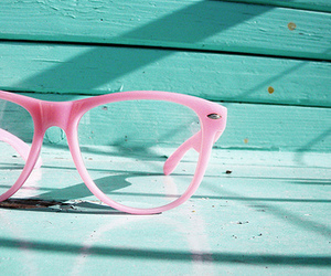glasses, pink, and blue image