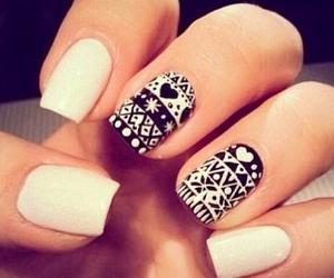 nails, white, and black image
