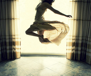 girl, dress, and jump image