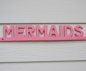 mermaid, pink, and sign image