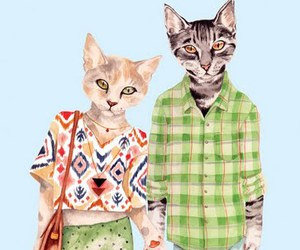 cat, art, and couple image