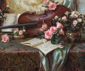 art, music, and flowers image