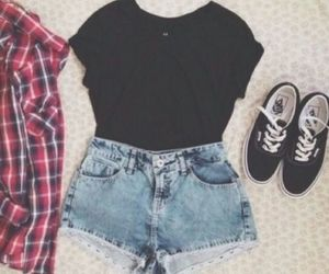 outfit, vans, and shorts image