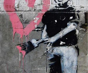 bansky, heart, and boy image
