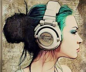 girl, music, and art image