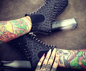 tattoo, shoes, and spikes image