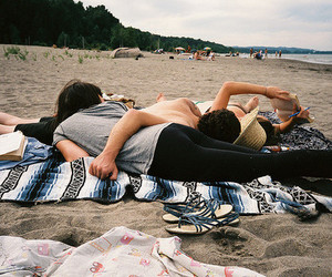 beach, couple, and friends image