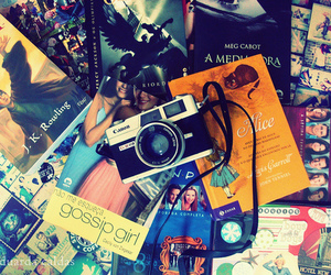 book, camera, and gossip girl image