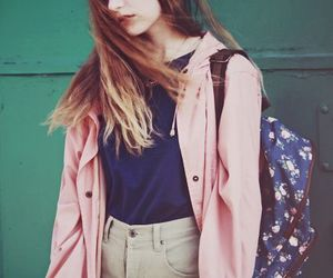 fashion, girl, and backpack image