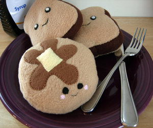 pancakes, toast, and cute image