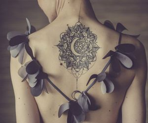 back, moon, and tattooed image