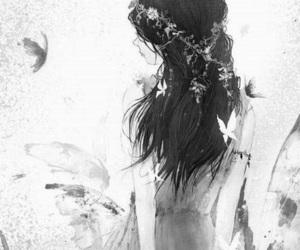 black and white, kawaii, and monochrome image