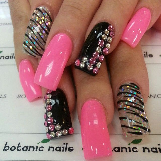 Pink And Black Zebra Bling Nails On We Heart It