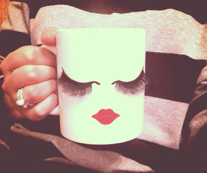 cup, lips, and makeup image