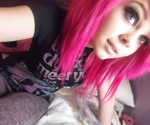girl, pink hair, and scene image