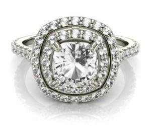 princess cut diamond ring, 18k white gold, and double halo diamond ring image