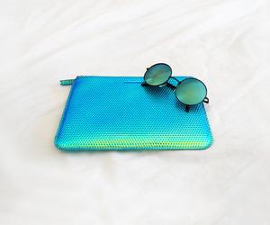 fashion, blue, and sunglasses image