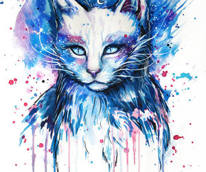 cat, art, and blue image