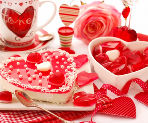 hearts, red, and Valentine's Day image