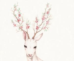 flowers, deer, and pink image