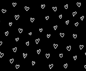 hearts, black, and wallpaper image