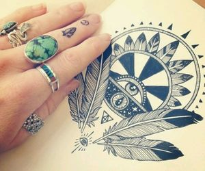 bohemian, drawing, and hippie image