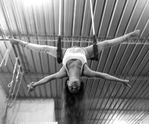 believe, black and white, and trapeze image