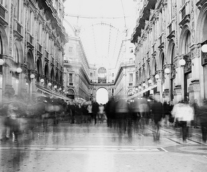 black and white and city image