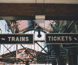 train, vintage, and ticket image