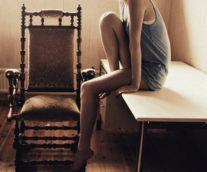 chair, girl, and table image