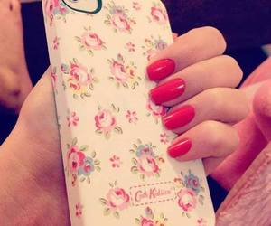 iphone, nails, and flowers image