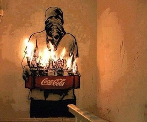 art, fire, and coca cola image