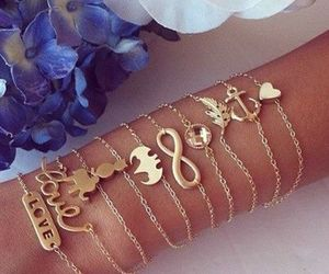 love, bracelet, and gold image