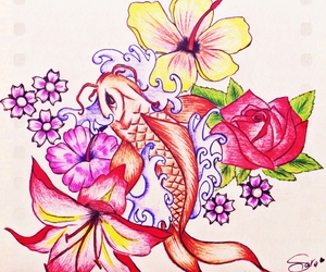 carpa, draw, and flower image