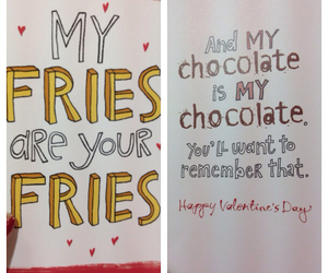 card, chocolate, and fries image